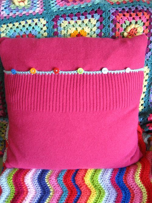 Crochet Cushion Construction - back made from old sweater - great tutorial