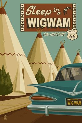 Holbrook, Arizona - Route 66 - Wigwam Village Motel - Lantern Press Artwork