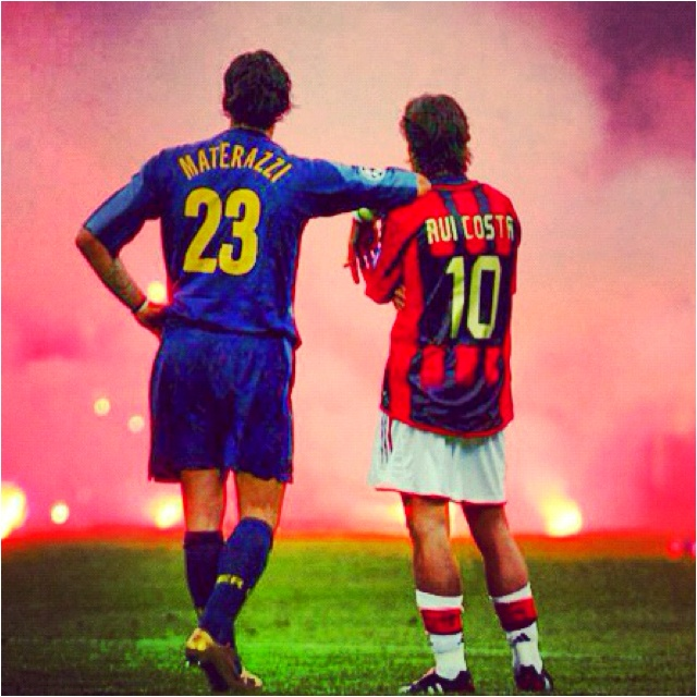 Marco Materazzi (Inter Milan) and Rui Costa (AC Milan) watching on as the Derby della Madonnina is abandoned on 12 April 2005.