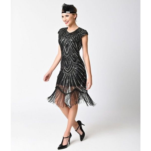 1920s Style Black & Silver Sequin Mesh Cap Sleeve Fringe Flapper Dress ($88) ❤ liked on Polyvore featuring dresses, 1920s flapper dress, sequin flapper dress, 20s dress, baby doll dress and fringe flapper dress