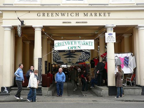 The beautiful Greenwich Market entrance.