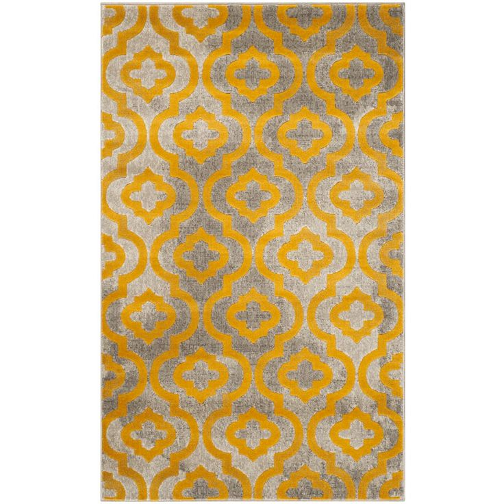 Porcello Light Gray/Yellow 3 ft. x 5 ft. Area Rug