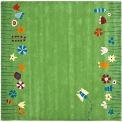 Handmade Children's Summer Grass Green N. Z. Wool Rug (6' Round)