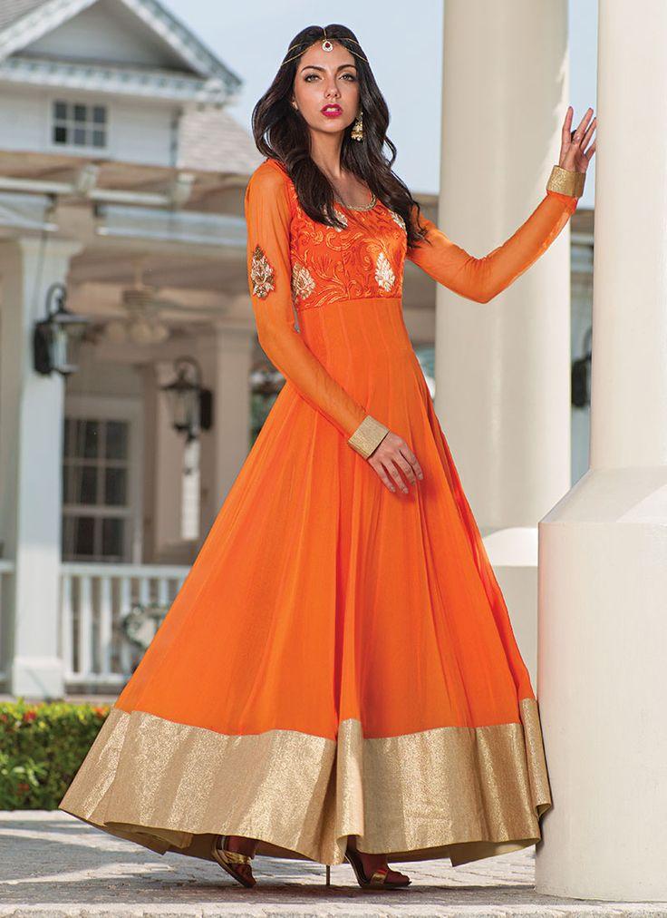 Orange Pure Georgette Floor Length Anarkali