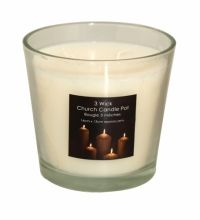 Sil Church Candle 3 Wick In A Glass Pot Approximately 14 x 13cm in size.