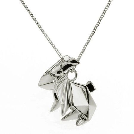 Origami Jewellery Sterling Silver & Gold Mini Rabbit Origami Necklace 3Re9lP