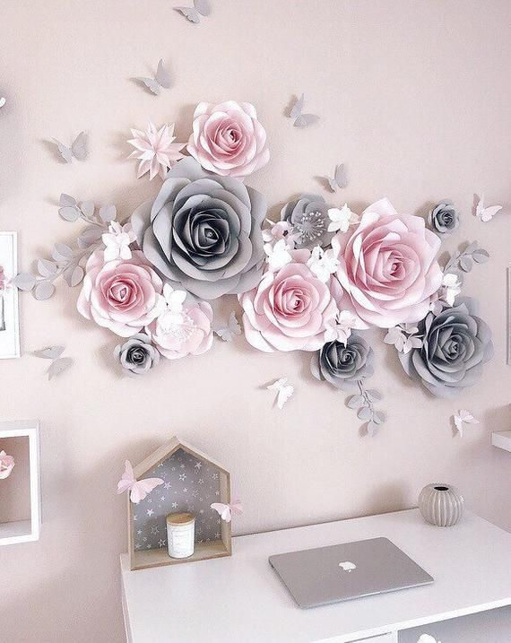 Nursery Paper Flowers Wall Decoration Paper Flower Decor Blush Nursery Decor Elegant Paper Flowers Paper Flower Decor Paper Flower Nursery Paper Flower Wall