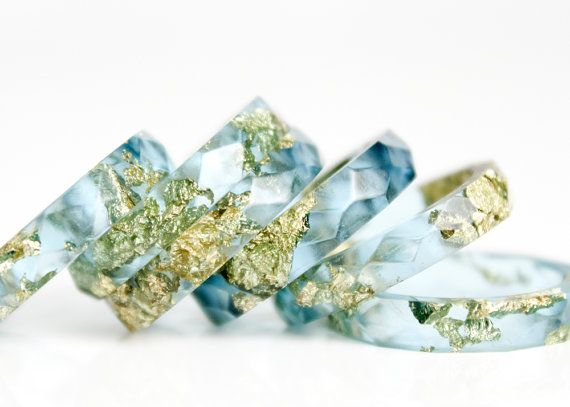 ocean blue metallic gold leaf size 9.5  geo faceted eco resin ring