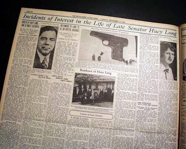 Huey Long assassination... Kingfish... - RareNewspapers.com