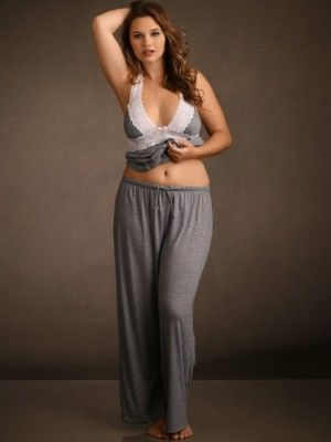 Plus Size Super Soft and Comfy Pajama Pants, Heather Grey