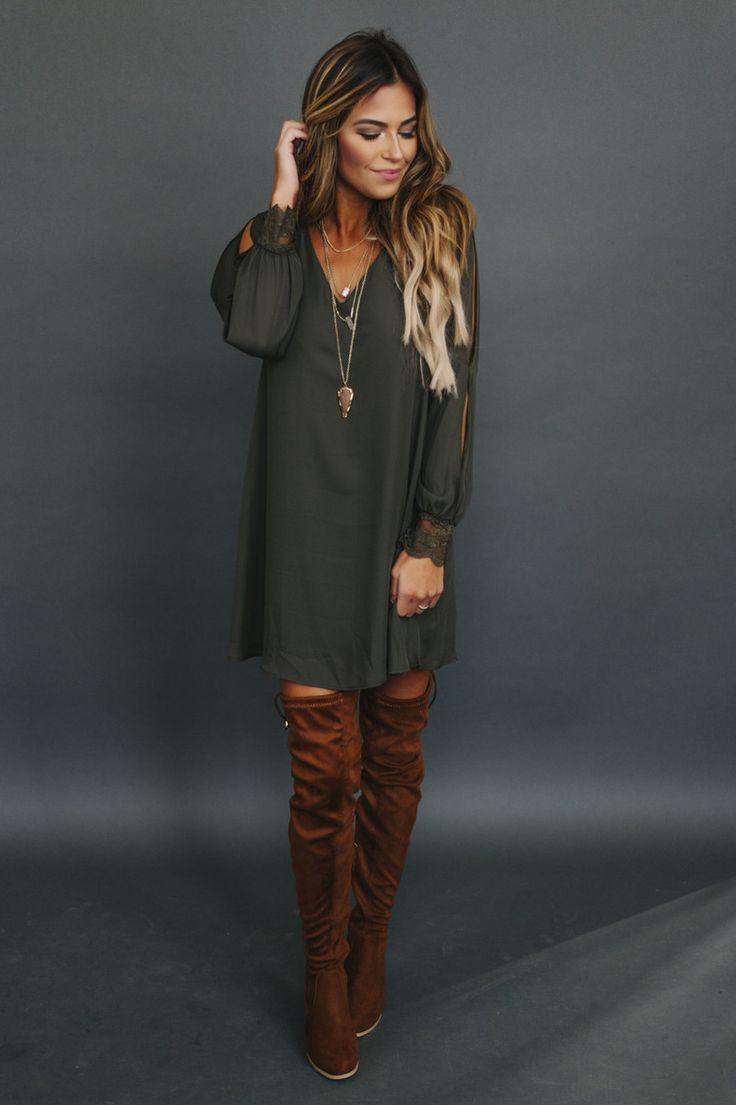 Chiffon Long Sleeve V Dress- Olive - Dottie Couture Boutique