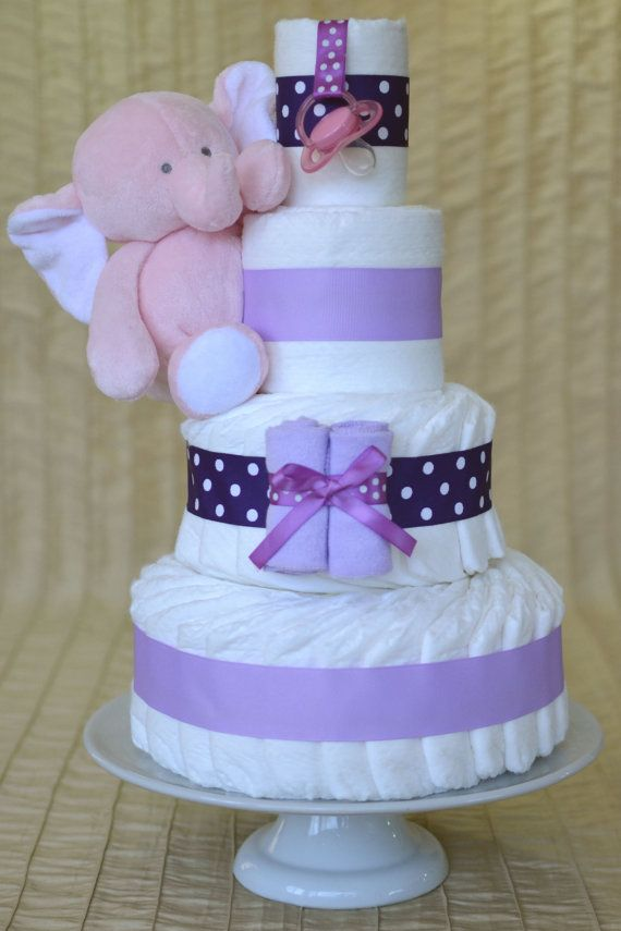 Baby Girl Diaper Cake - Purple Polka Dot and Lilac with Plush Pink Elephant
