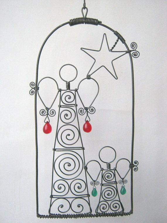 Wire Art Sculpture / Two Angels And A Star by MyWireArt on Etsy
