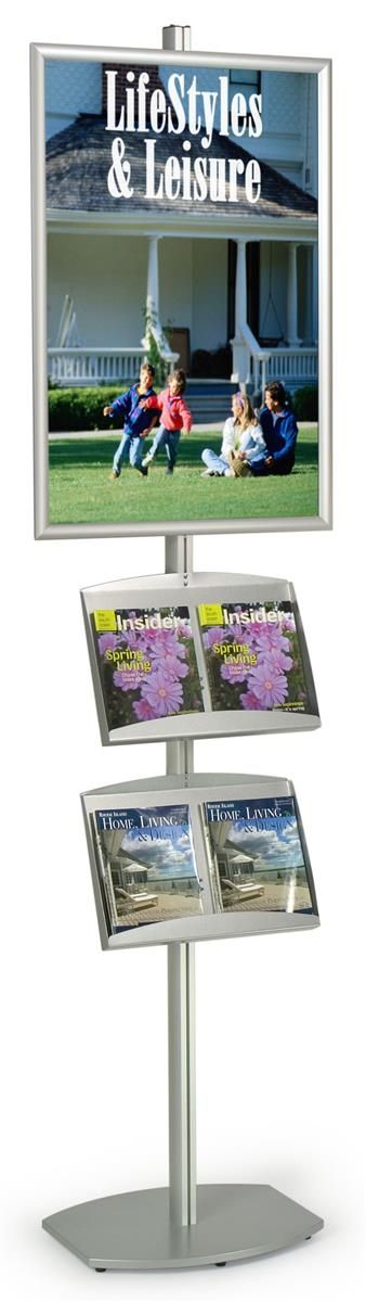 24 x 36 poster stand snap open 2 literature trays 8 feet tall