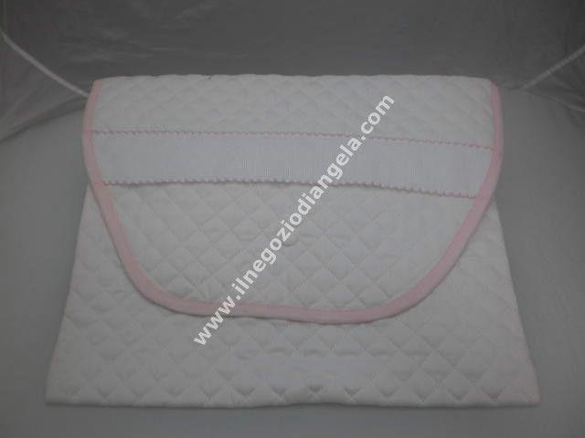 497eefae5a Borsa primo cambio porta Corredino con tela aida col. bianco con bordo rosa