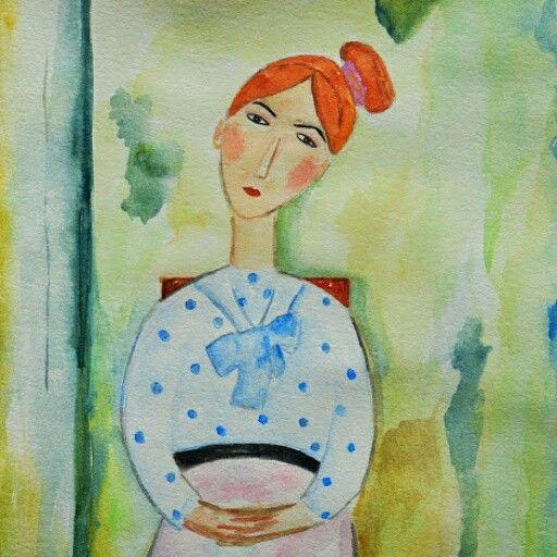 Patricia - watercolor paint 18 x 25 cm Solgt!