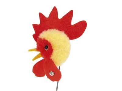 Joy! Steiff pom pom rooster pin.