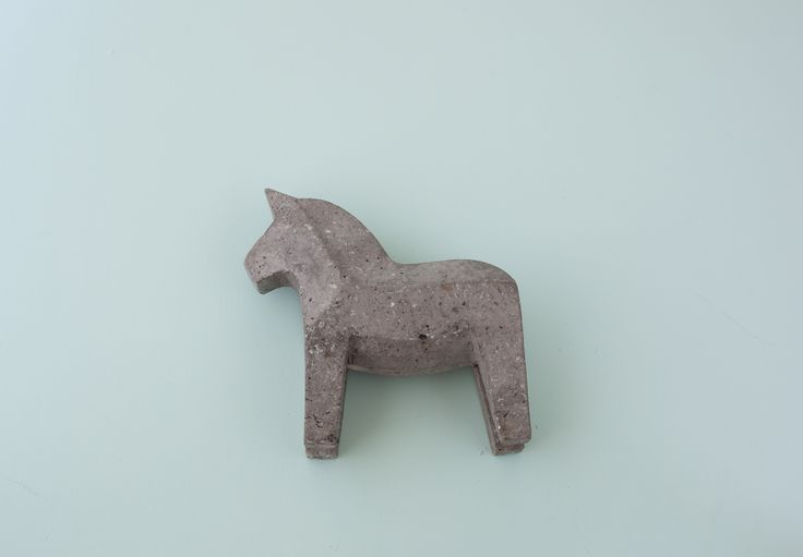 Traditional Swedish concrete Dala horse