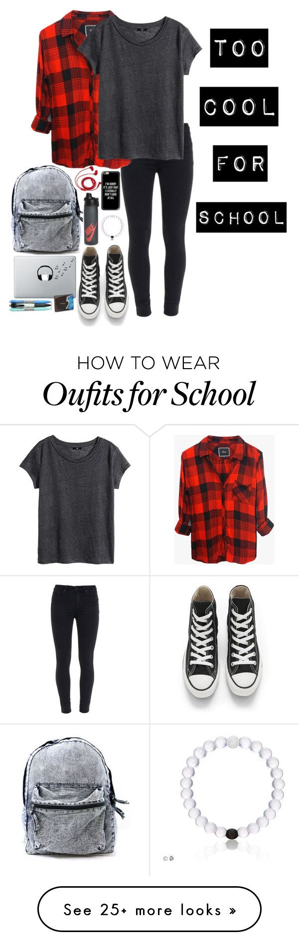 "This is perfect for my Best Friend  ~~~~~~~~~~~~~~~~~~~~~~~~~~  ""Too cool for school :P"" by creationsbycristina on Polyvore featuring Paige Denim, Rails, H&M, Converse, FOSSIL, Casetify, NIKE, Music Notes and Vera Bradley"
