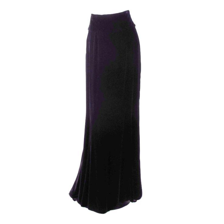 1stdibs   Ungaro black velvet fish tail hem maxi skirt