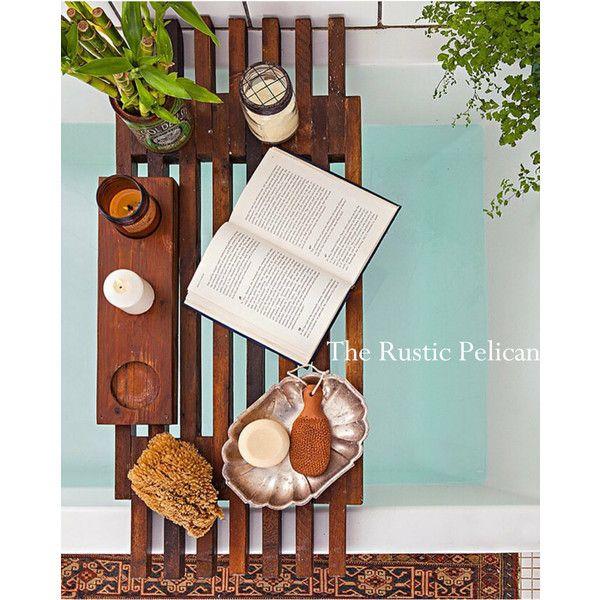 RusticPelican ($119) ❤ liked on Polyvore featuring wooden shelves, wood bathtub tray, wood trays, wood bathtub caddy and bathtub caddy