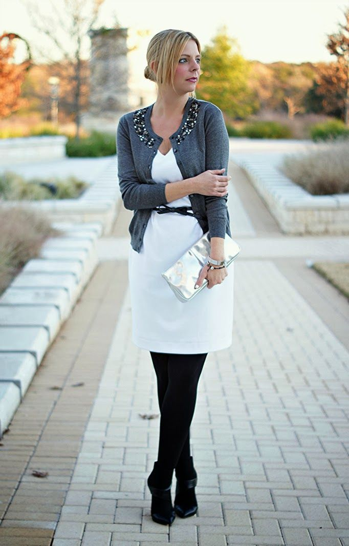 White dress, black tights, grey cardigan
