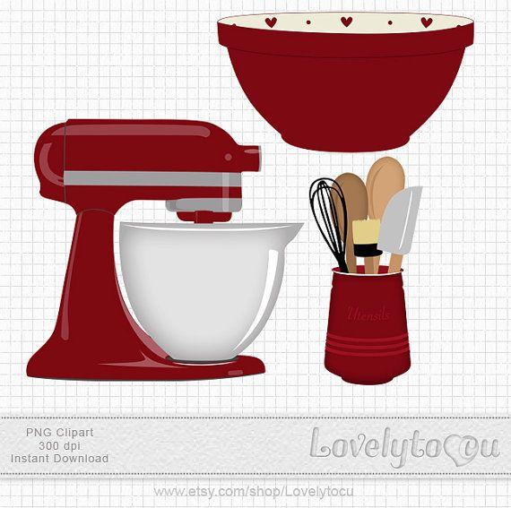 Kitchen Baking clip art set mixer, utensils and bowl, digital PNG clip art (red 220)