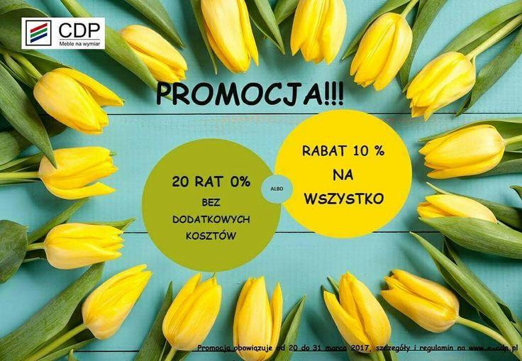 Już od dzisiaj zapraszamy do skorzystania z naszej najnowszej wiosennej promocji: 20 rat 0% lub 10 % rabatu na wszystko!!! Szczegóły oraz regulamin promocji dostępny w naszych punktach sprzedaży oraz na stronie internetowej http://e-cdp.pl/   w zakładce promocje :)