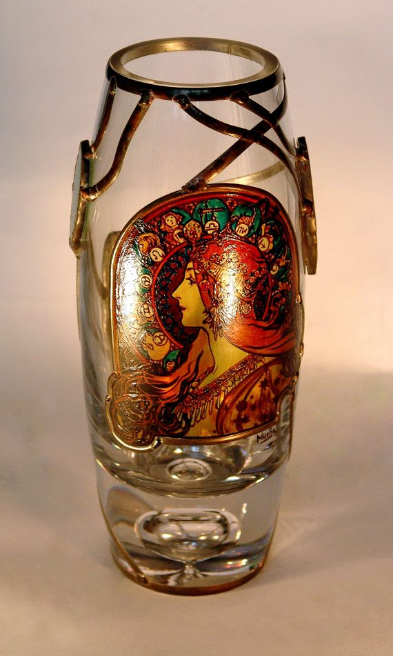 "10"" x 5"" (260 mm x 120 mm) Massive, glass, bright, hand-painted decorative vase, product of Czech glass factories. Precise copy of Mucha's artwork. Special glass paints and their fusing on the surface of glass in kiln guarantee durable and everlasting quality of each copy."