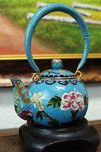 Rare 70s A+ Vintage Chinese Cloisonne Tea Pot Bronze Enamel | eBay