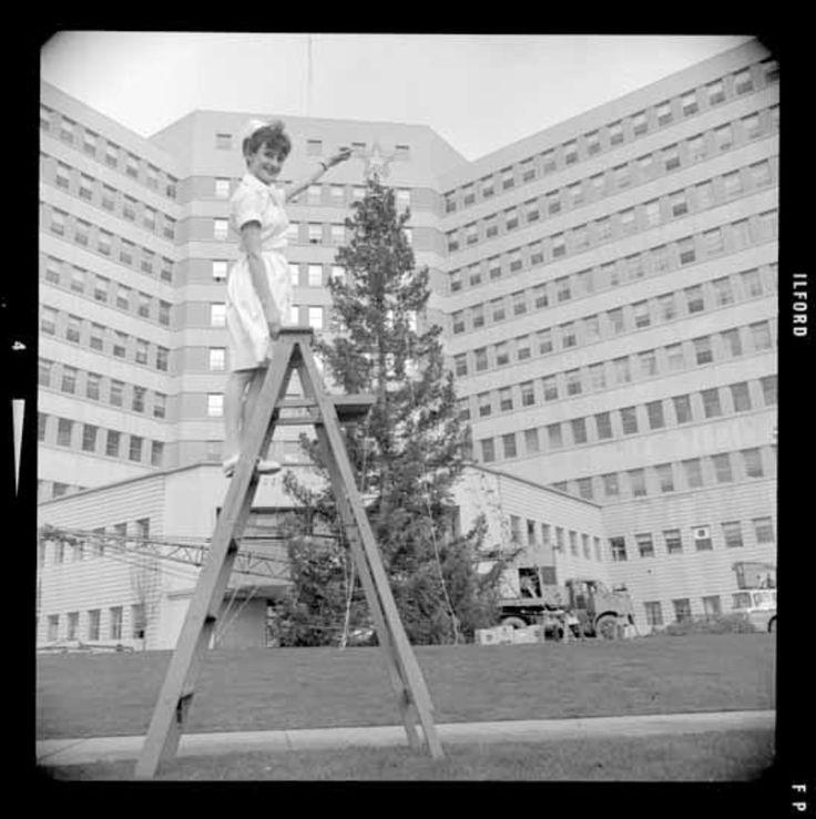 Christmas tree outside Centennial Pavilion, Vancouver General Hospital, 1965