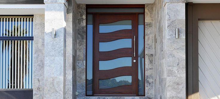 Custom Made Solid Jarrah Wave Pivot Door Stainless Steel