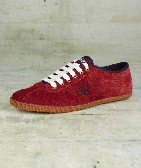 Fred Perry B2162 Hayes Unlined Suede Mens Shoe BNIB Maroon UK Size 7