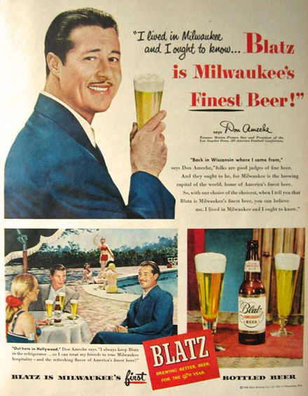 1948 Blatz Beer Ad ~ Don Ameche