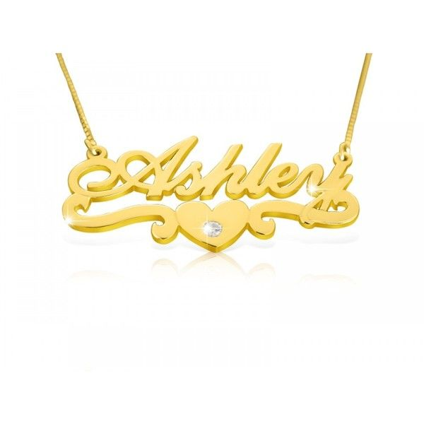 Ashley Heart Diamond Solid 14k Gold Name Necklace ❤ liked on Polyvore featuring jewelry, necklaces, heart shaped diamond necklace, diamond necklace, gold necklace, 14k gold jewelry and gold jewelry