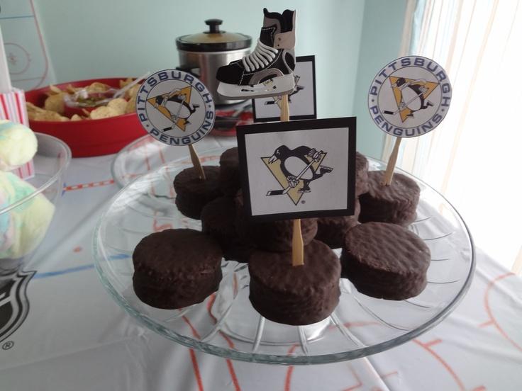 Hockey pucks for the hockey themed birthday party.