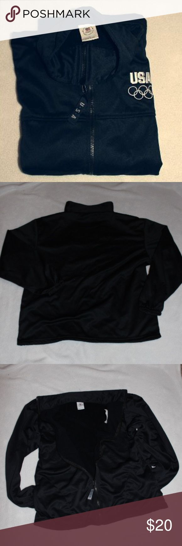 US Olympic Comittee Fleece - The games are soon.. Get into the games!!  It's even Made in the USA .   Nice warm fleece .  Color is navy blue.    Excellent condition.    12-17 US Olympic Committee Shirts Sweatshirts & Hoodies