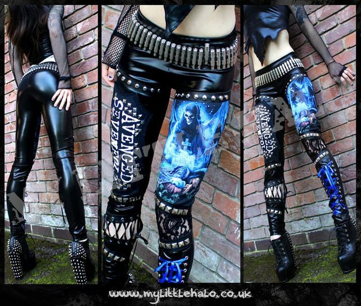 Wet look, studded Avenged Sevenfold leggings by My Little Halo Alternative Clothing