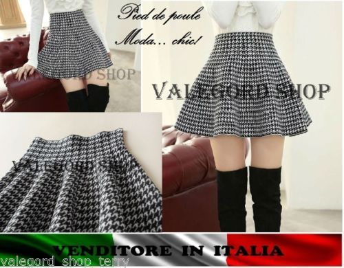 Gonna-PIED-POULE-mini-corta-ruota-bella-quadretti-elegante-skirt-rock-moda-jupe