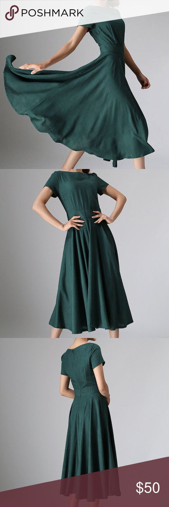 Midi dress - Green Linen -Green linen material -forest, hunter green color -Shallow boat neckline  -Short sleeves -Fitted waist   -Concealed Back zip closure  -Flare skirt, soft pleated -115 cms in length, midi dress Wash by hand or machine with cold water Dresses Midi