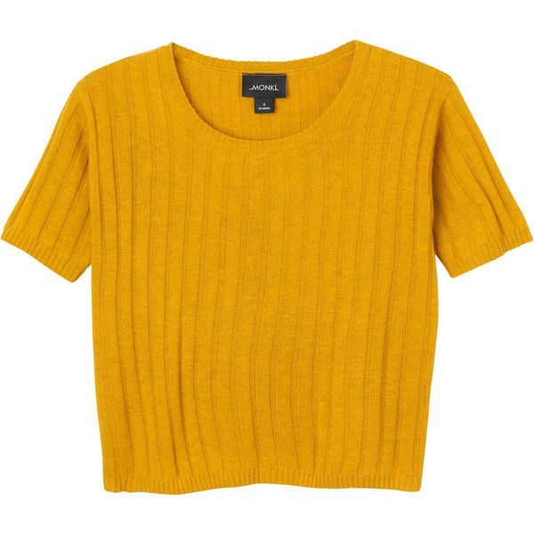 Vera knitted top ($12) ❤ liked on Polyvore featuring tops, t-shirts, shirts, crop top, yellow t shirt, yellow tee, shirt crop top, crop tee and crop shirts