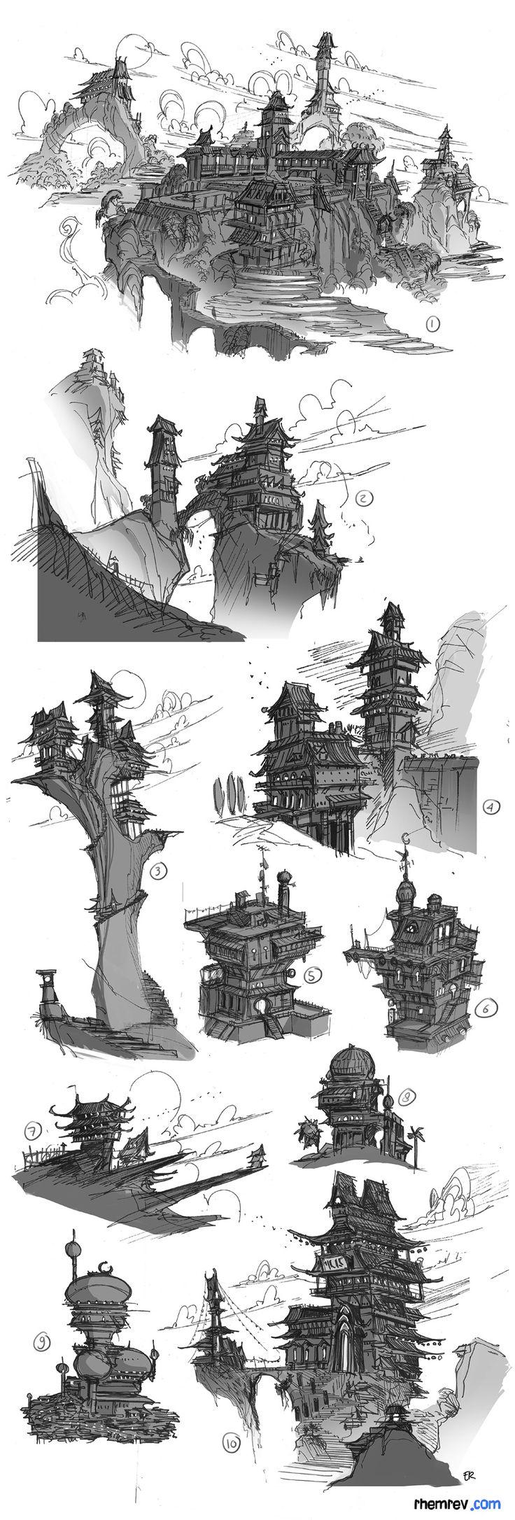 http://rhemdoodles.blogspot.com/2011/04/cliff-dwellings-thumbnails.html  #wallartroad #conceptart