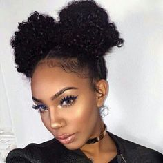 cute two buns curly natural hairstyle                                                                                                                                                      More