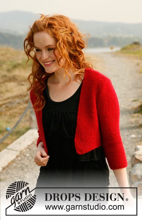 "Free pattern: Knitted DROPS bolero with ¾ sleeves in ""Alpaca"", ""Vivaldi"" and ""Glitter"". Size: S - XXXL. ~ DROPS Design"