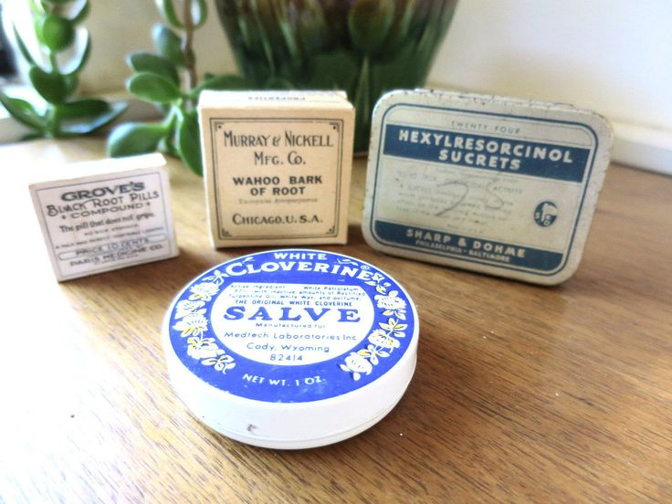 4 Vintage Medicine Tins Boxes Apothecary Supplies Containers Wahoo Root Blacks Pills Salve Throat Lozenge Tin Home Apothecary Collectible by BonniesVintageAttic on Etsy