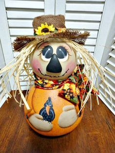 Handpainted Primitive Autumn Fall Scarecrow Doll Gourd