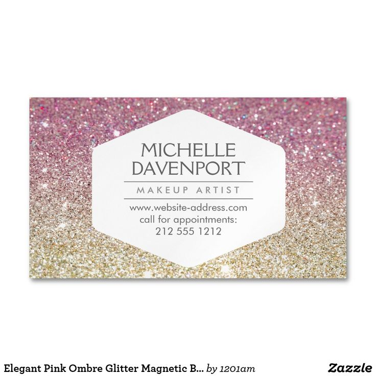Elegant Pink Ombre Glitter Magnetic Business Card Coordinates with the ELEGANT WHITE EMBLEM ON PINK OMBRE GLITTER BACKGROUND Business Card Template by 1201AM. An elegant and modern white hexagon badge stylishly holds your name or business name while surrounded by a faux glittery pink and gold background. Use these magnetic business cards for giveaways to your clients. Your contact info is prominently displayed… a great reminder to call for appointments! © 1201AM CREATIVE