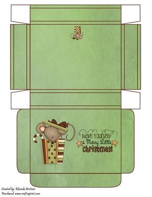 Have Yourself A Very Merry Little Christmas Gift Box on Craftsuprint designed by Rhonda Brittain - This christmas gift box is great to hold that special gift. - Now available for download!