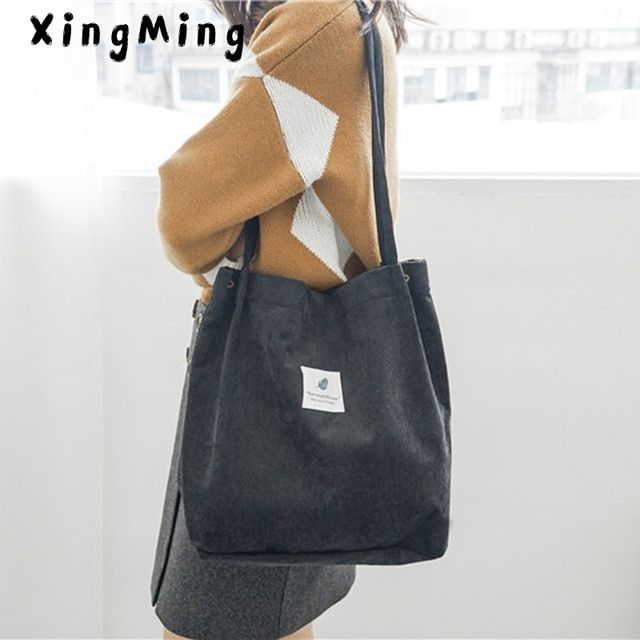 fced9ac21 2019 Casual Women Mori style Large Capacity Tote Canvas Shoulder Bag  Shopping Bag corduroy Bags Casual Tote Feminina Review