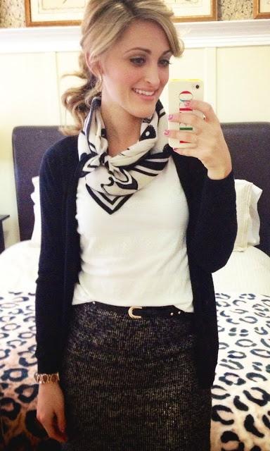 black and white scarf, tweed skirt